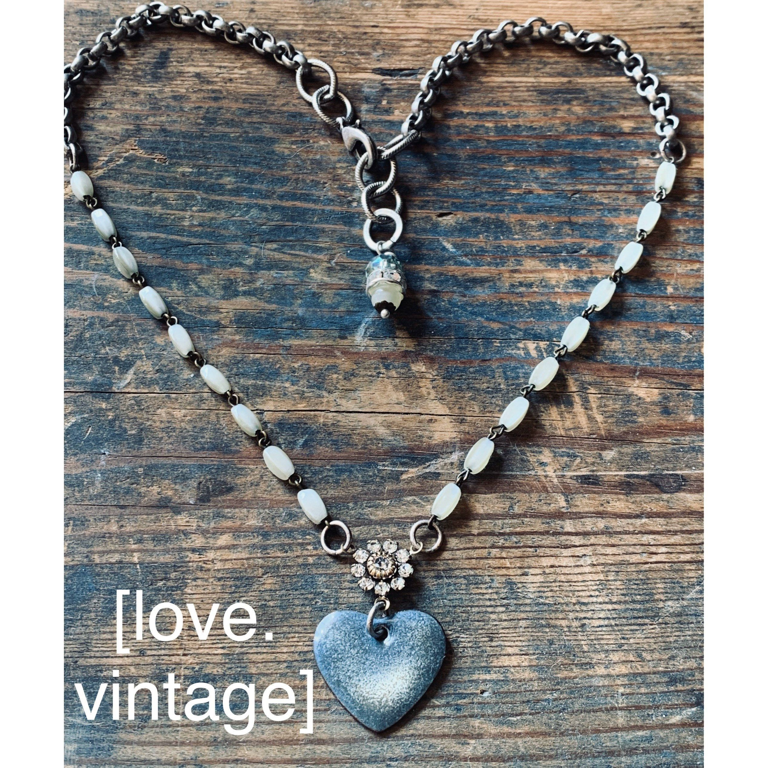 Excited to share this item from my #etsy shop: Torch Enameled Vintage Heart Necklace #heartnecklace #enameledheart #torchenamel #vintagebeads #heart #enameling #swarovskicrystal #repurposedvintage #handmadejewelry
