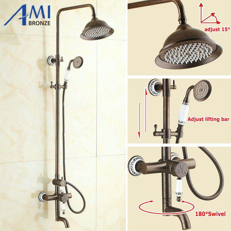 Roman Bronze Brass Shower Set Waterfall Shower Head With Hand shower ...