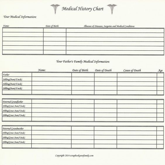 Our Roots - Medical History Chart A - 8 - medical charts