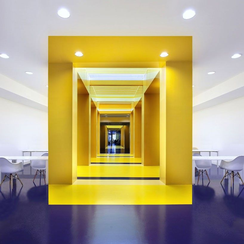 colorful office space interior design. Malka Architecture Defines Parisian Office Space With Bold Colors Colorful Interior Design