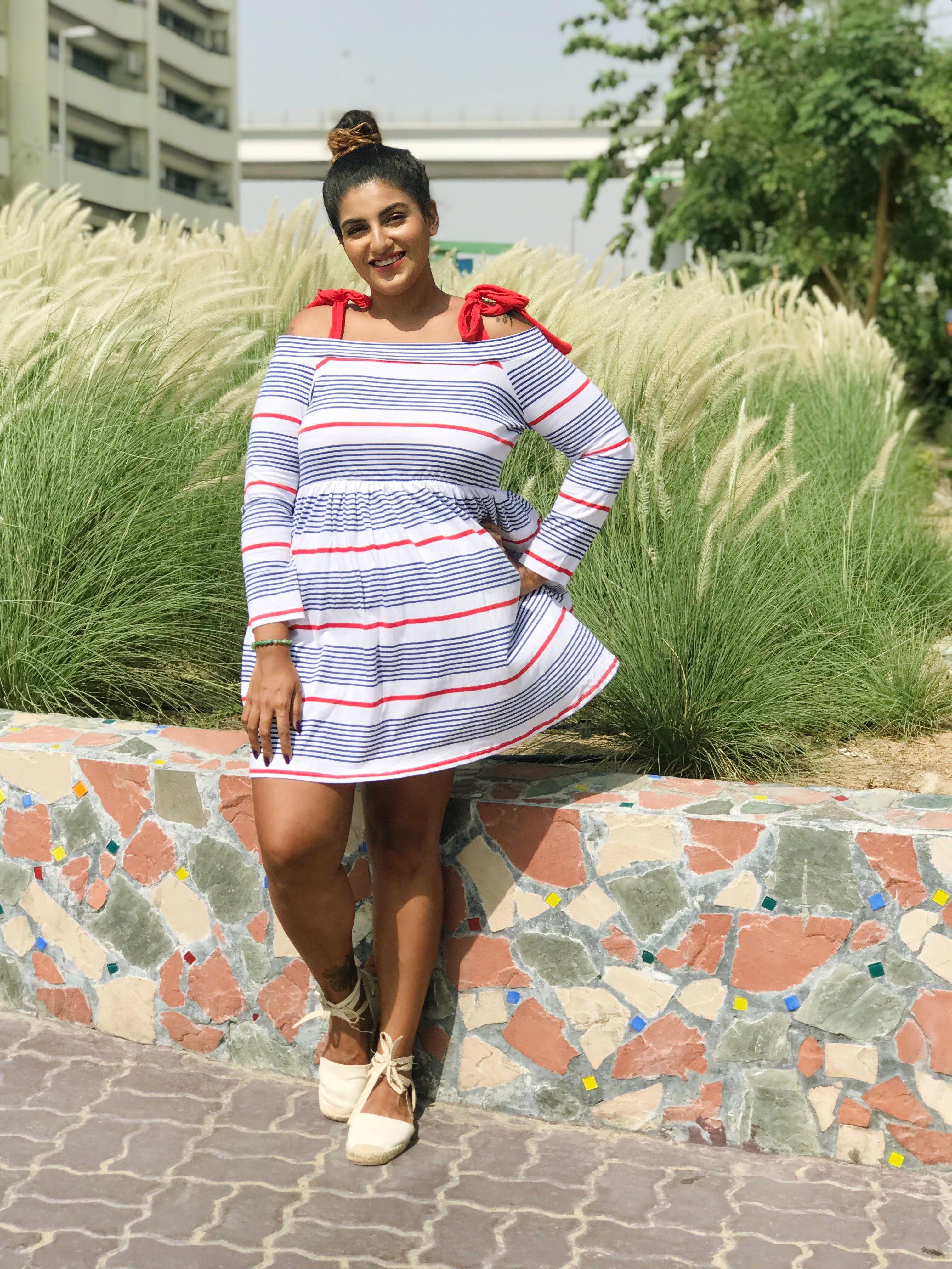 fc9701b35e8 ASOS DESIGN stripe cold shoulder smock sundress Plus Size Summer Fashion