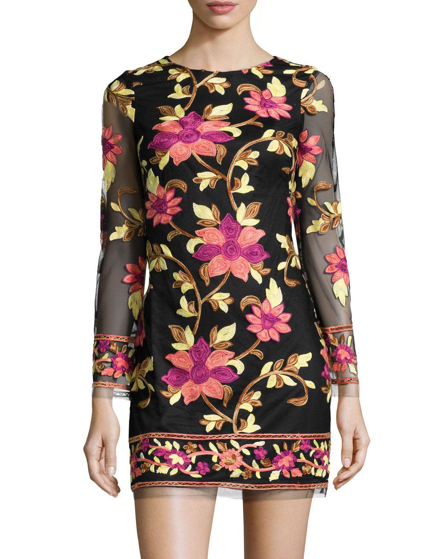 Neiman marcus floralembroidered longsleeve dress blackmulti