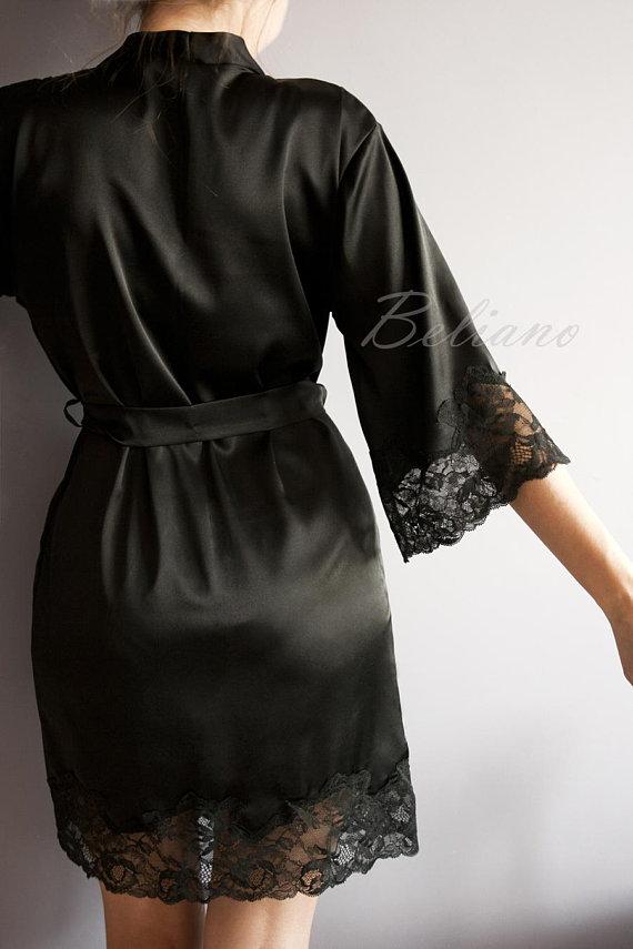 Silk Short Robe Kimono Lace 121855005