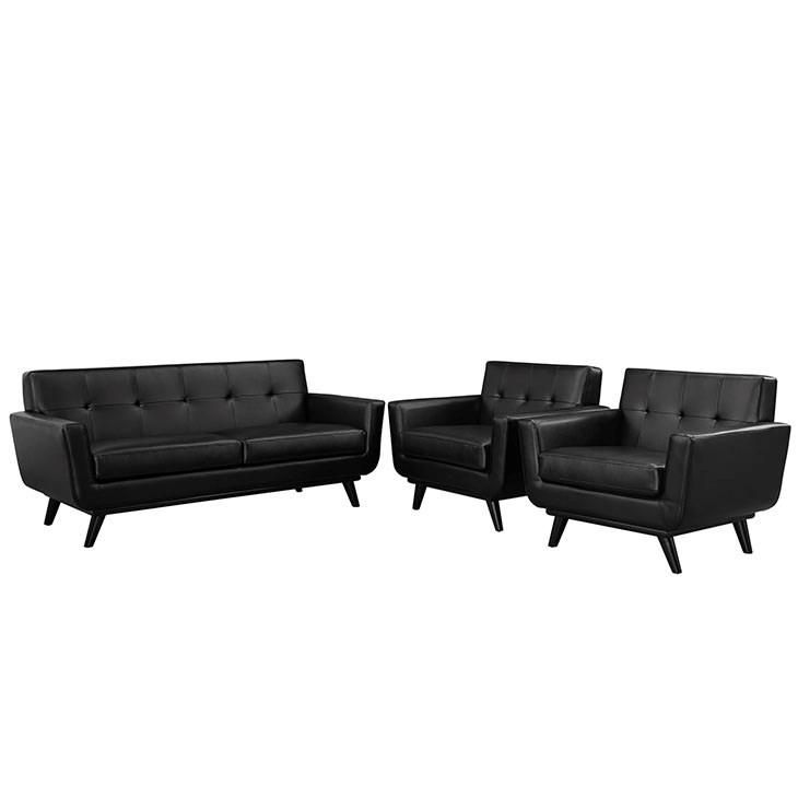 Modway Furniture Modern Engage 3 Piece Leather Living Room Set in