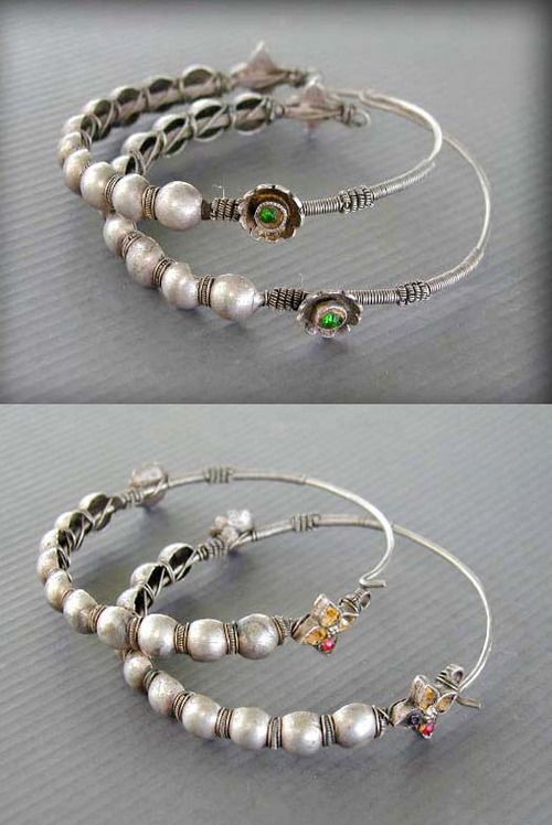 Central Asia   Antique silver nomad's earrings. Very good alloy of silver, decorated with small glass stones   120$