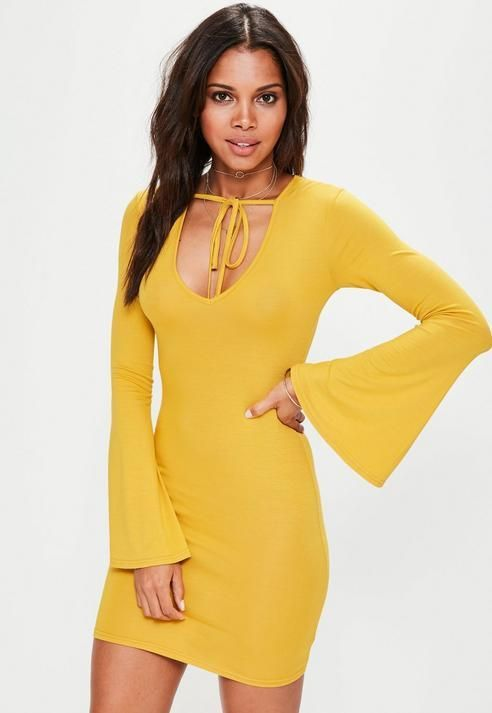 1908142b446 Missguided Yellow Flare Sleeve Bodycon Mini Dress