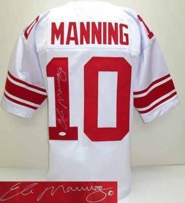 timeless design 78a7c 108e5 Eli Manning Signed/Autographed Pro-Style Custom White Jersey ...