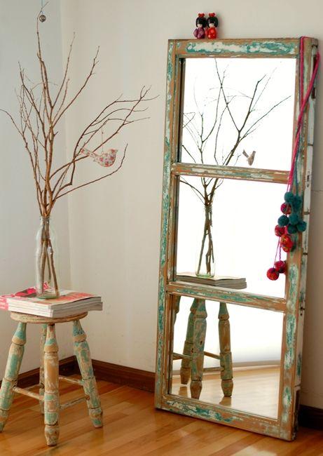 Ventana rescatada y convertida en espejo desde mi taller - Objetos decorativos modernos ...