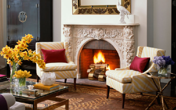 Zebra Chairs Home Fireplace Victorian Living Room Living Room Red