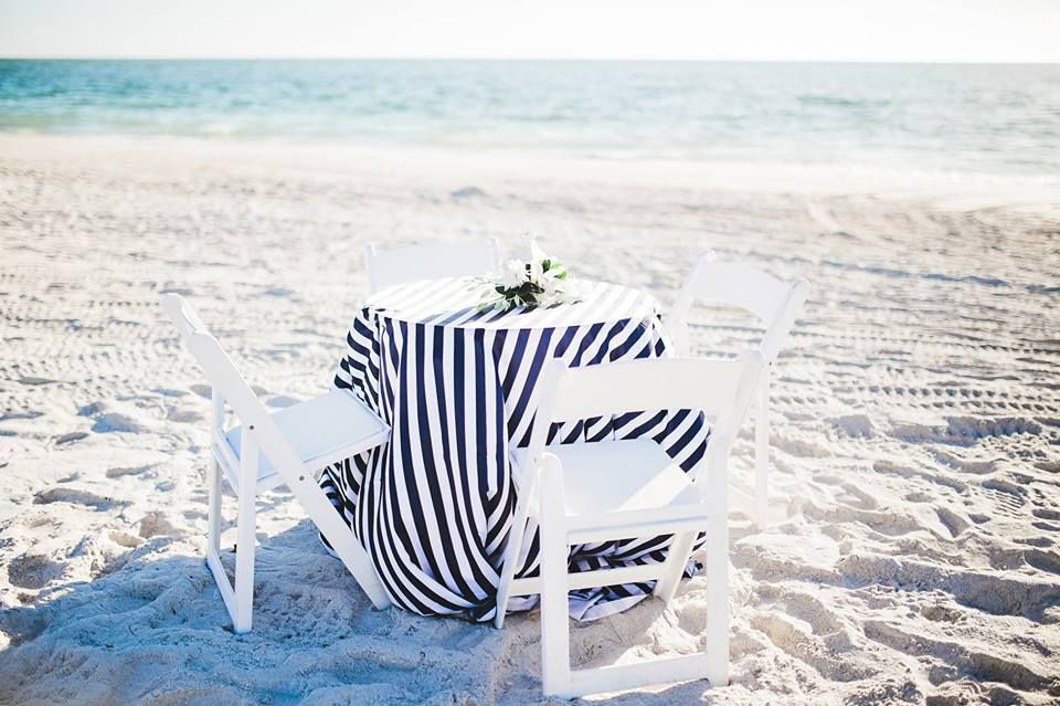 Cute black & white table cloth for a fun beach wedding ...