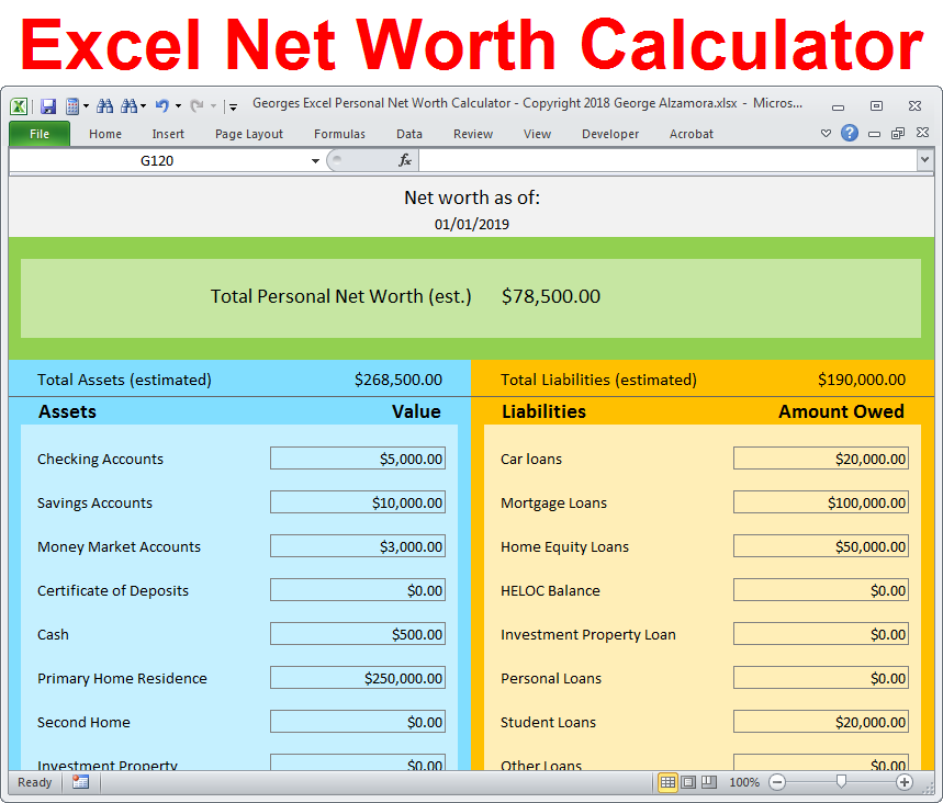 Personal Net Worth Calculator Excel Spreadsheet Personal