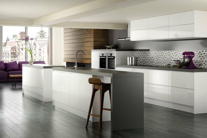 ikea küchen helle schränke weiß hochglanz kücheninsel spüle - ikea kuche schwarz weiss
