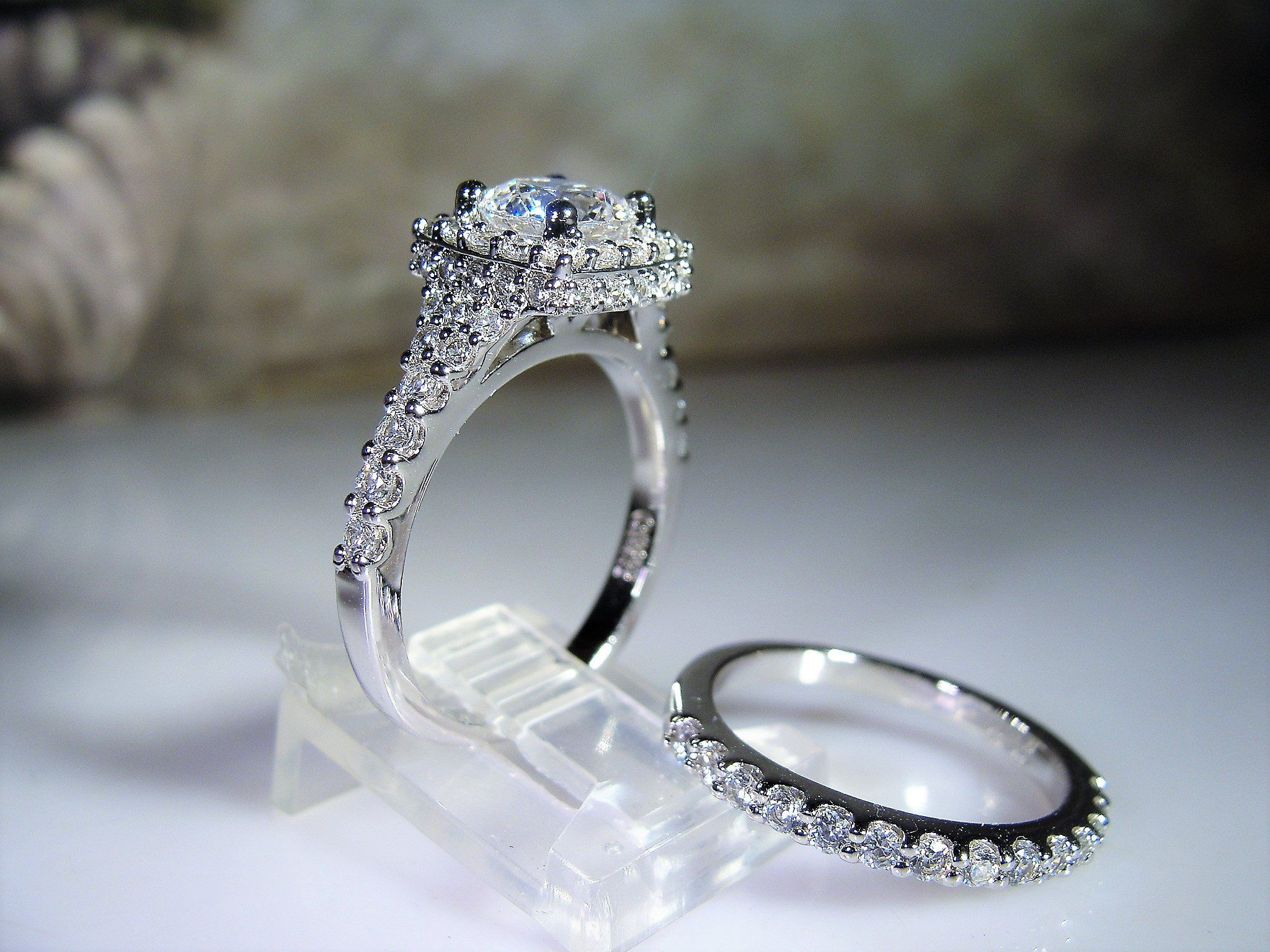 It is just a picture of Sterling Silver Bridal Ring Set, Engagement Ring, Wedding Band