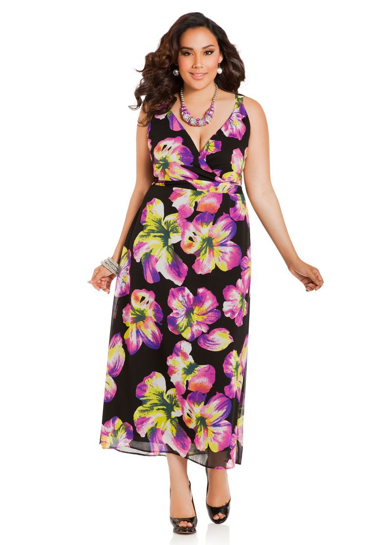 Floral Chiffon Maxi Dress - Ashley Stewart | +size fashion ...