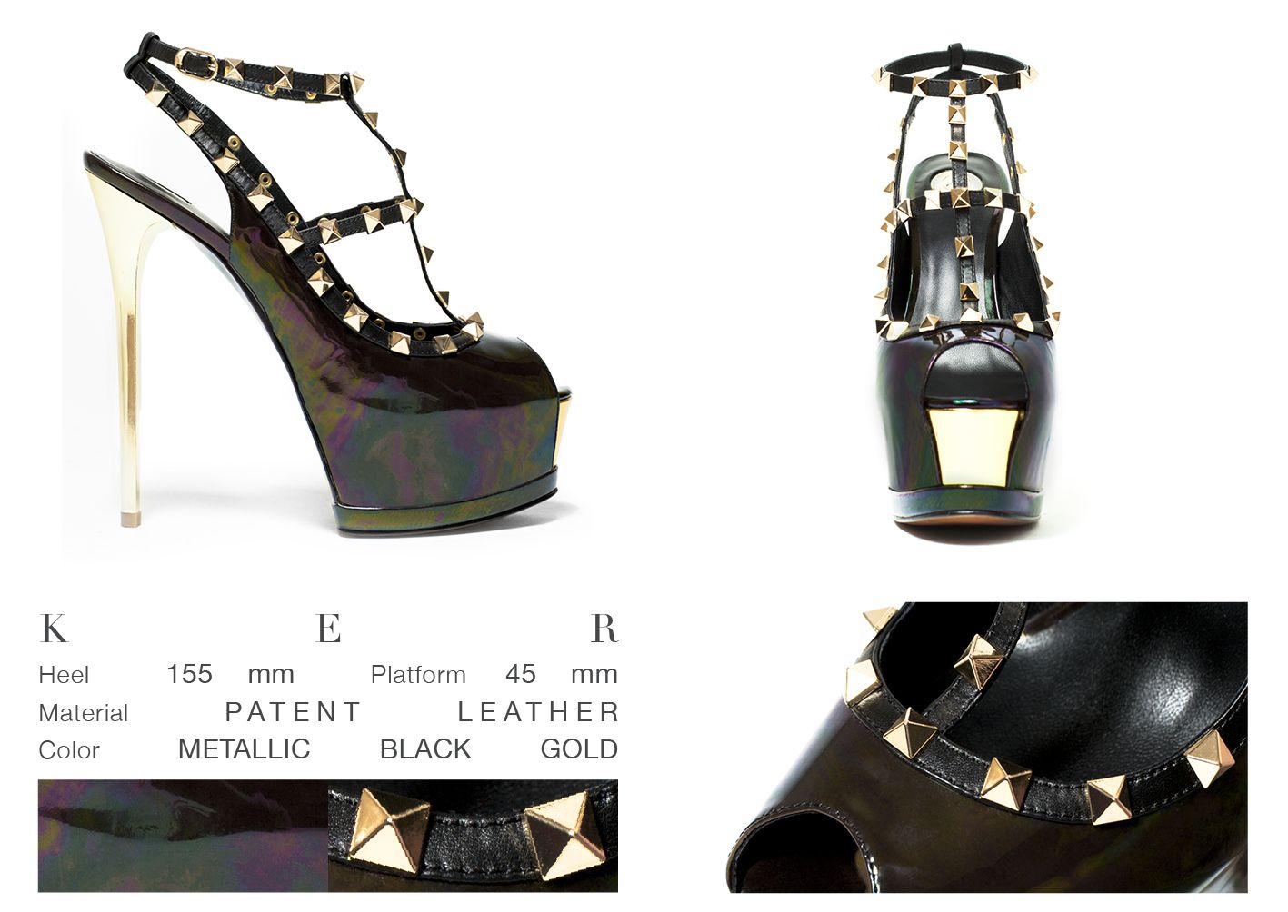 No words for this sexy and extreme beauty, that will leave the world speechless. Is not only an incredibly elegant sandal but also a piece of art. Metallic black patent leather and golden taches, all together in this unsurpassable high heel.   ONLINE STORE: bymareshoes.com
