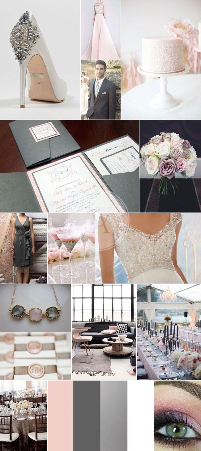 Charcoal Grey, Silver & Pink Wedding Colours | Wedding | Pinterest ...