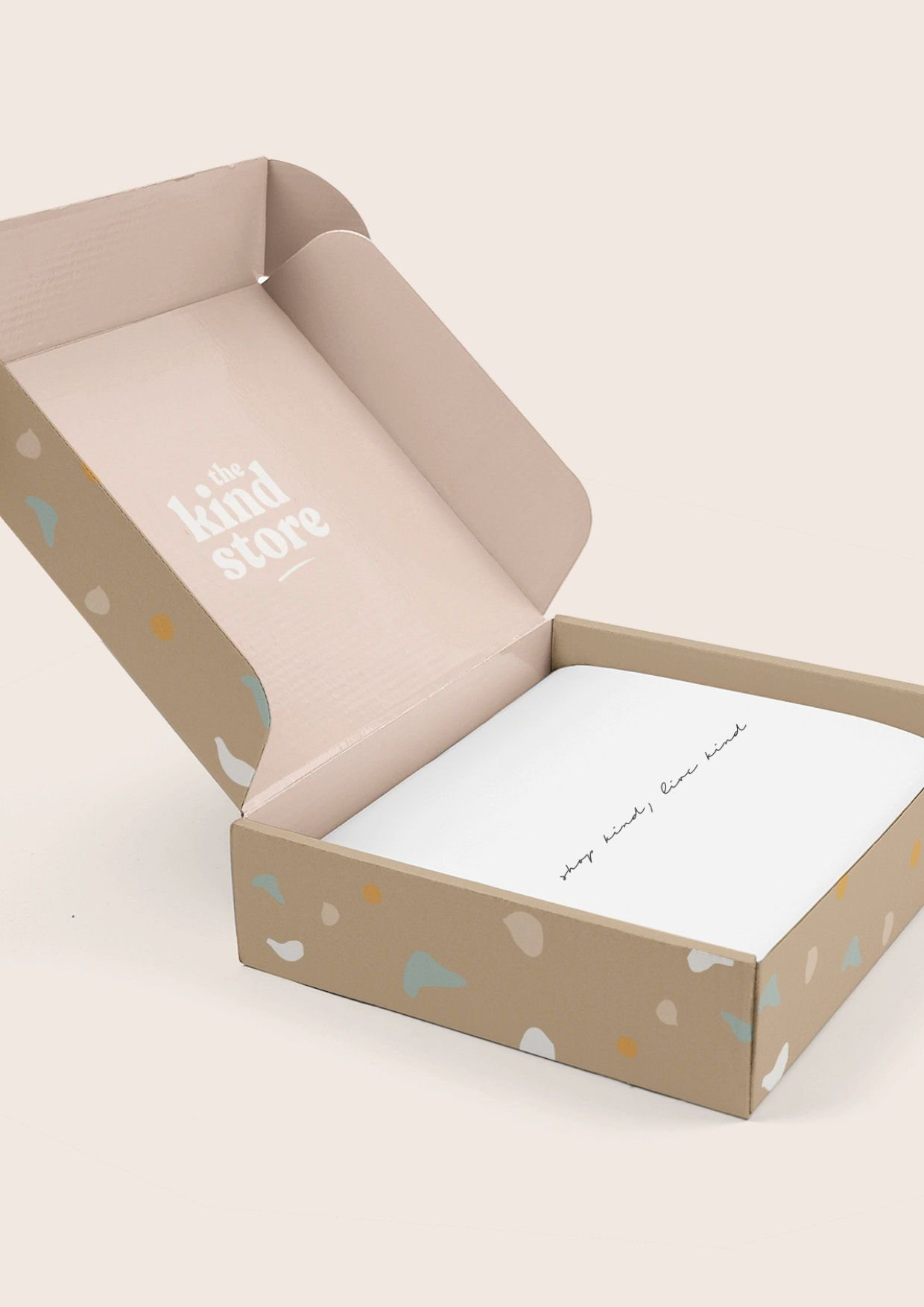Recycled sustainable box packaging design for The Kind Store a zero waste vegan beauty online store. Eco-friendly ethical packaging design.  #ethical #ecofriendly #packaging #inspiration #design #sustainable #branding #brandstylist #designinspo #brandinspiration