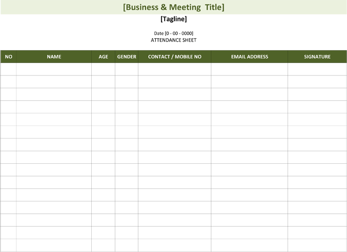Employee Attendance Sheet By Week Attendance Sheet Template Attendance Sheet List Template