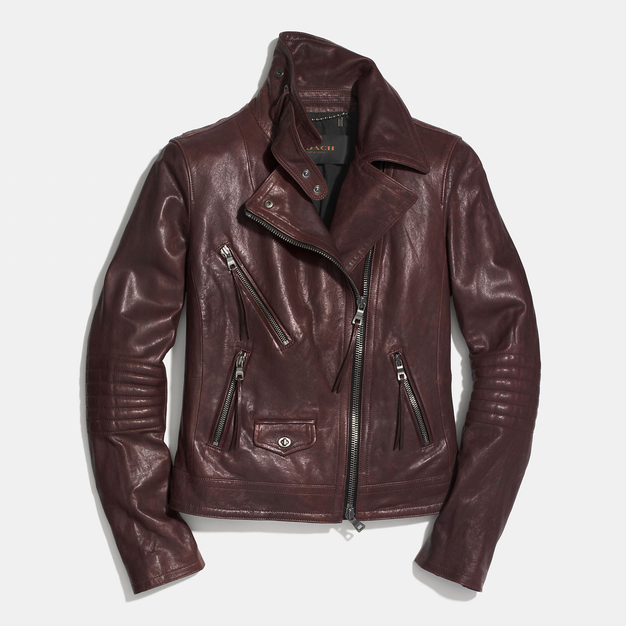 Coach SLIM LEATHER MOTO JACKET in oxblood Leather