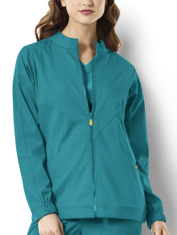 6b42cfb4721 WonderWink Women's Next Boston Warm up Scrub Jacket, Teal, Large -- Awesome  products selected by Anna Churchill