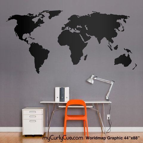 Black world map on a grey wall orange accent for the boys black world map on a grey wall orange accent gumiabroncs Images