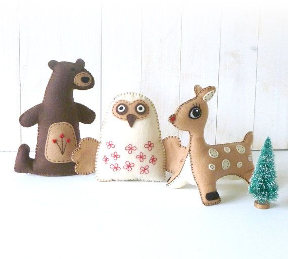 Stuffed Animal Felties Sewing Patterns, Woodland Animal Hand Sewing ...