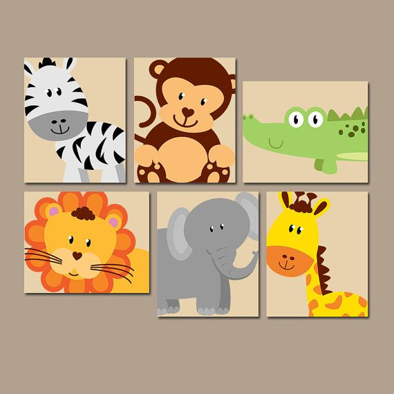 Safari Nursery Decor Jungle Theme Nursery Nursery Artwork: JUNGLE Animal Wall Art, Safari Animals Nursery Decor