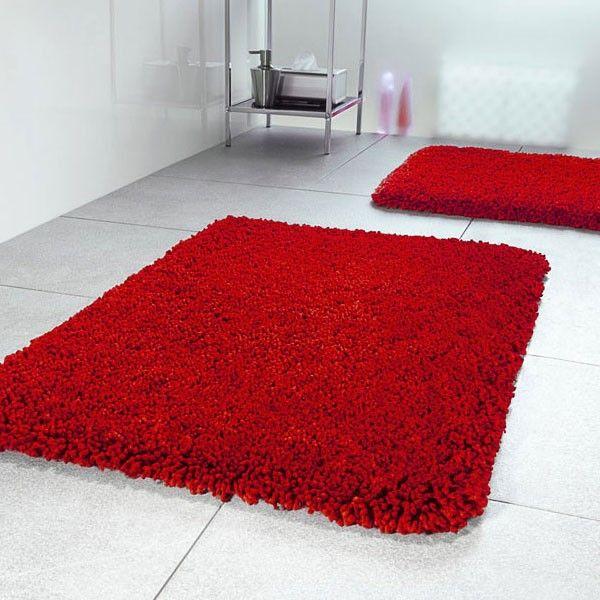 Beau Highland Red Bath Mat   Red Shaggy Bathroom Rug   Spirella