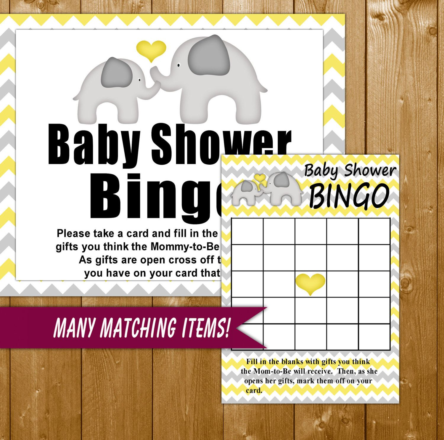 Elephant Baby Shower Bingo Game, Yellow Bingo Game With Sign,