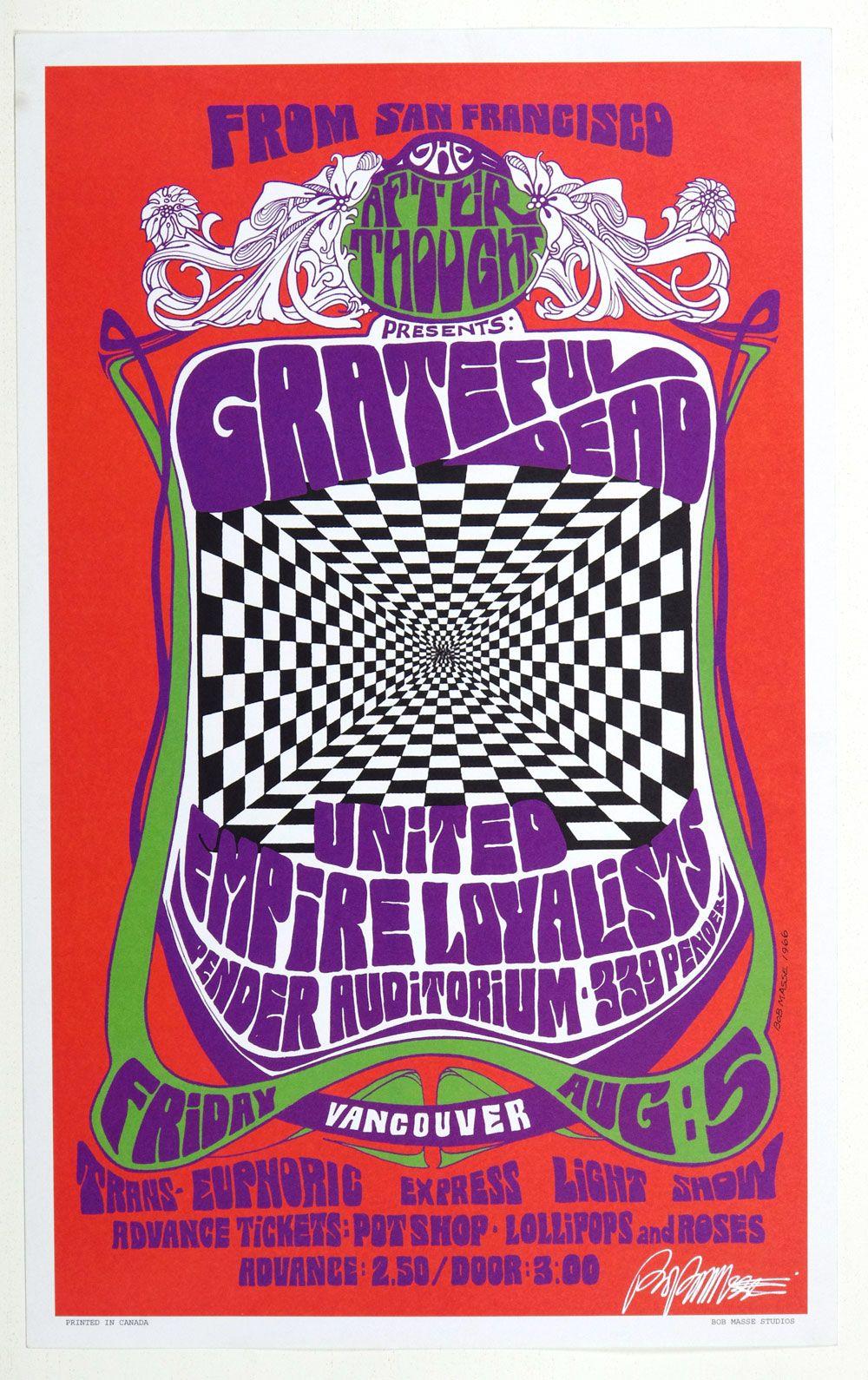 Grateful Dead concert poster, signed by artist Bob Masse