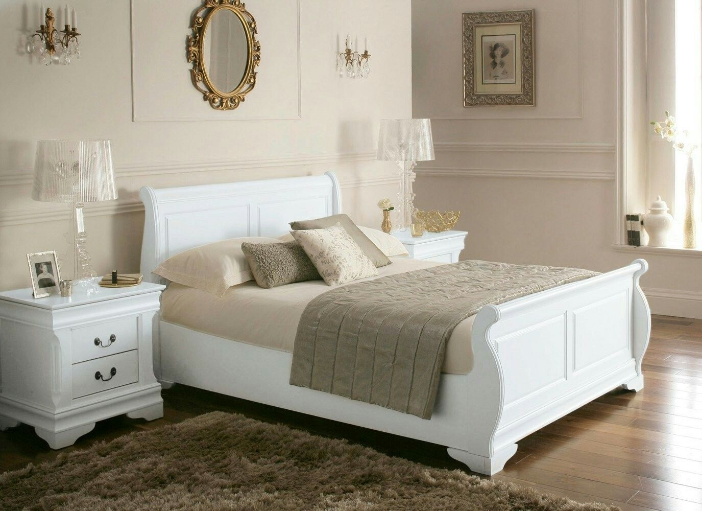 Pin by Cathy Hanley on bedroom Wooden sleigh bed, White
