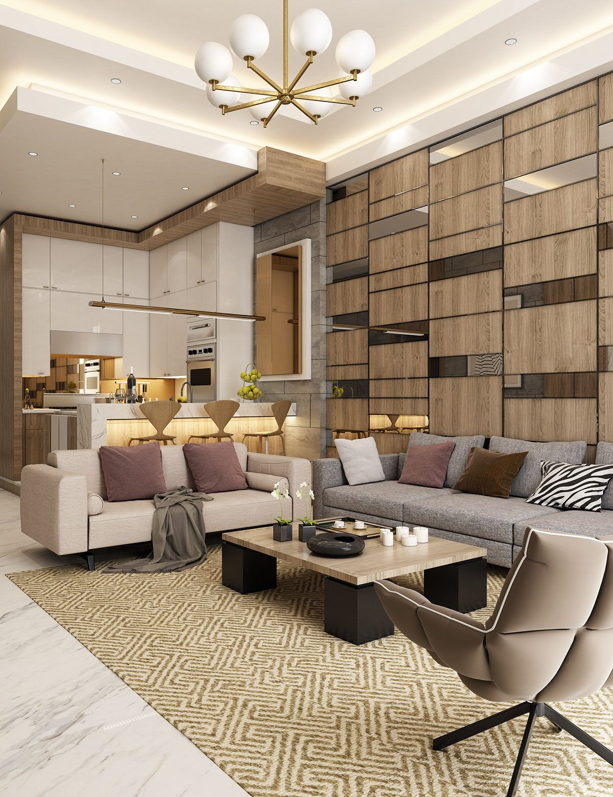 Living Room Design Contemporary: Contemporary Apartment Design On Behance