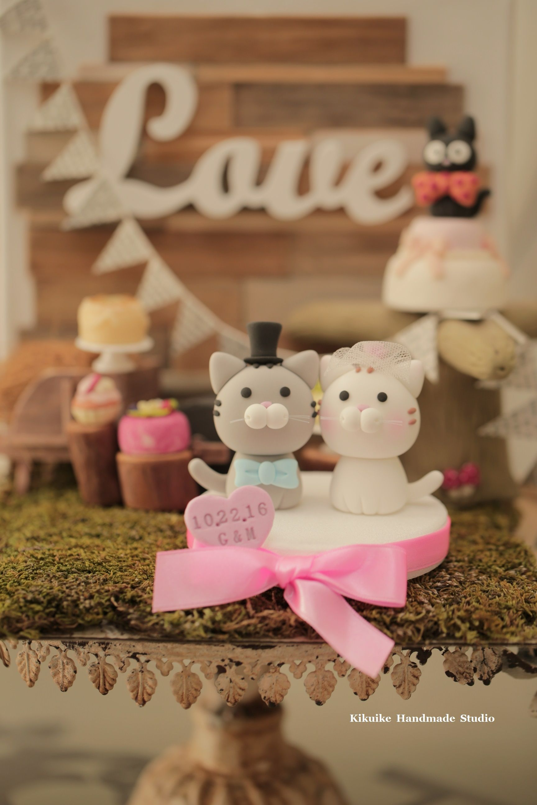 Cat and kitty wedding cake topperk wedding cake toppers