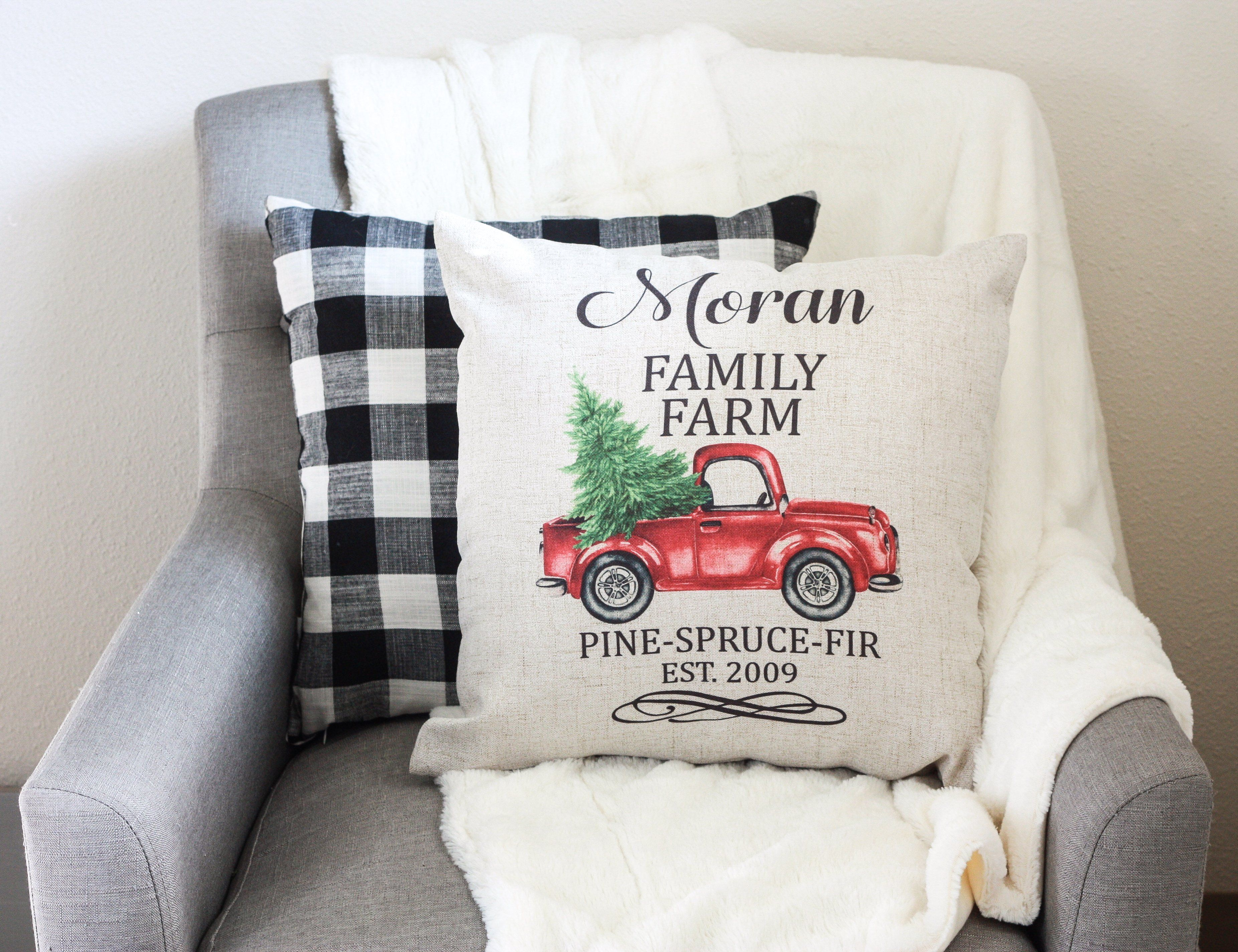 Personalized Christmas Red Truck Pillow Cover Pillows