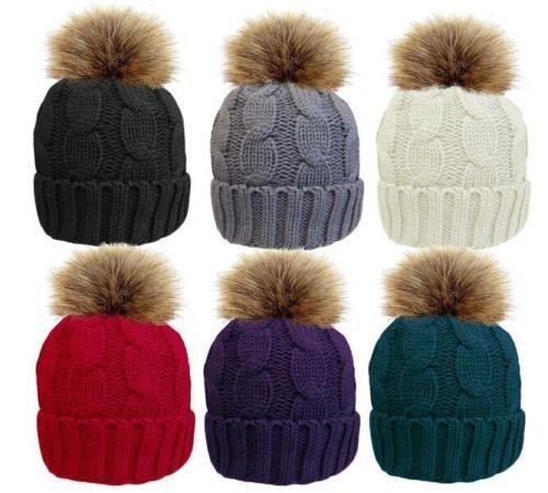 Ladies-Luxury-Soft-Warm-Bobble-Hat-Pom-Winter-Fleece-Lined-Snuggly-traditional
