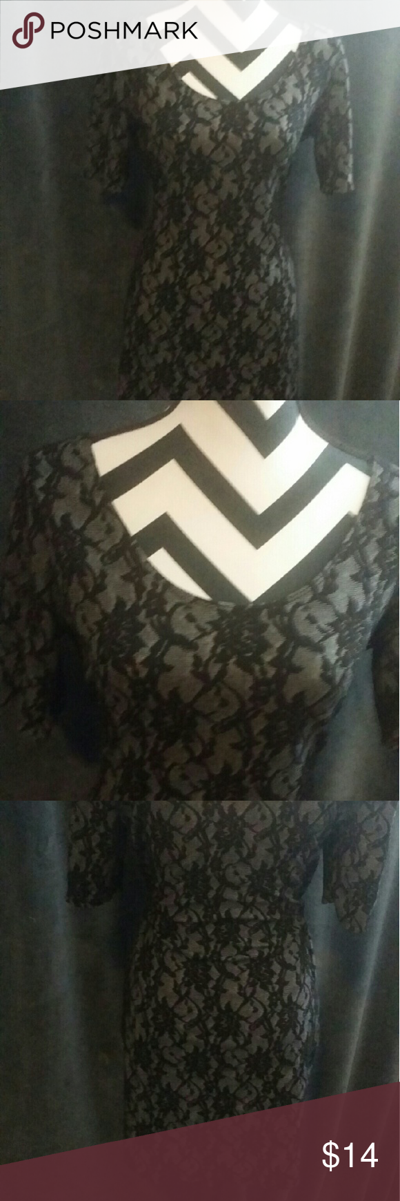 NWOT Juniors size XL Little black dress This dress is black and gray and is adorned with a flower design throughout. Dress can be worn on the shoulders or off the shoulders for the look you want. Dress creates an hourglass look. Perfect for a night out! Xhilaration Dresses Midi