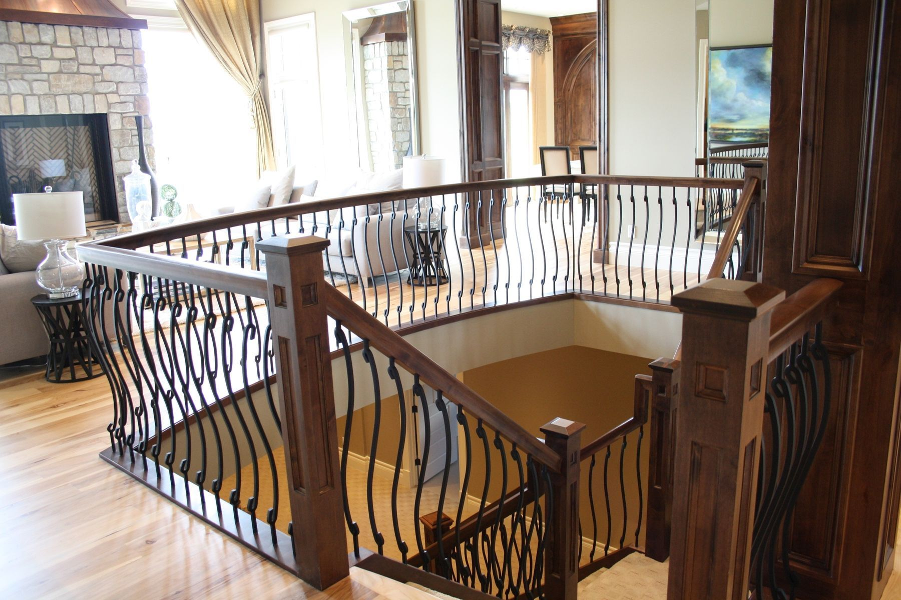 Custom Made Wood Stair Rail With S Shaped Spindles
