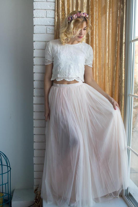 06a639e443f0 Bridesmaids Tulle Skirt Top set, Long Tulle Skirt, Lace Crop Top, Bridal  Party skirts, Floor length