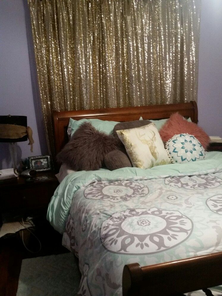 Mint grey and gold bed..