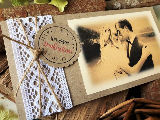 Dankeskarte Hochzeit Vintage Danke Danksagung Handmade Invitations