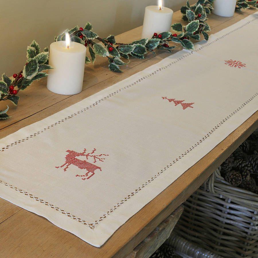White Christmas Table Runner | Christmas table runner ...