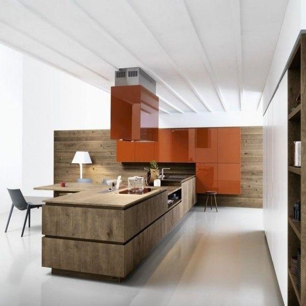 Küchen-hell-geräumig-glänzend-orange-farben-akzent | Interieur ...