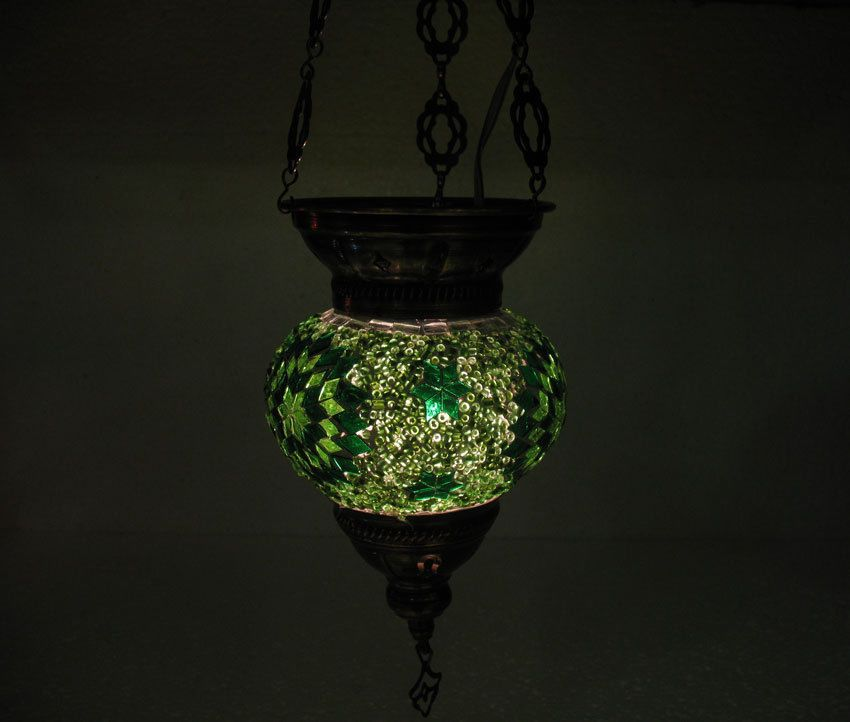 Green moroccan mosaic hanging lamp glass chandelier light lampe mosaiqe hng 28 #Handmade #Moroccan