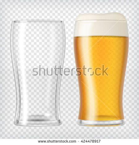 Two beer glasses. One empty mug and one full mug. Glass full with blond beer and foam.   Dos vasos de cerveza. Uno vacío y el otro lleno.