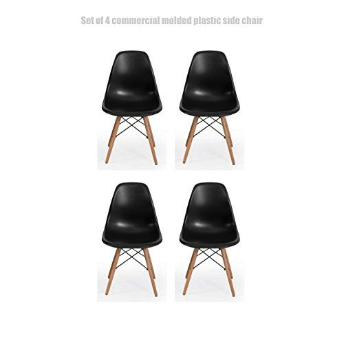Classic Vintage Style Dining Chair Molded Plastic Flexible Backs Support Deep Seat Pockets Straight Wooden Dowel Legs Innovative Side