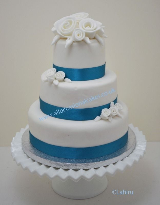White Wedding Cake With Blue Ribbon Google Search