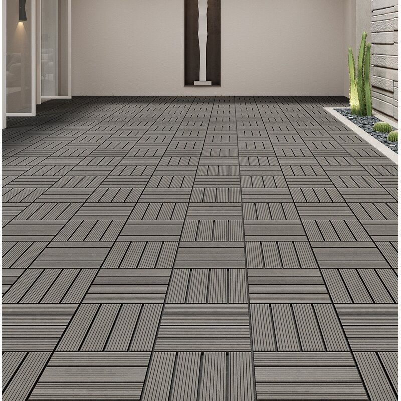 Terrace 12 X 12 Composite Interlocking Deck Tile Wood In 2020 Interlocking Deck Tiles Deck Tile Deck Tiles