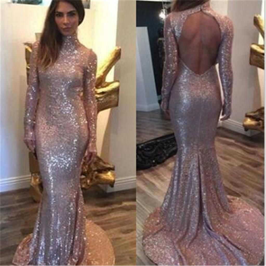 Long sleeves sequin high neck backless mermaid long prom dress