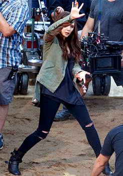 Elizabeth Olsen as Wanda Maximoff on the set of Captain America: Civil War