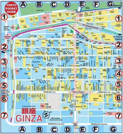 TOKYO POCKET GUIDE: Tokyo Ginza map in English for shopping, restaurants, bars ...